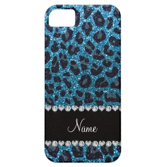 Custom name sky blue glitter leopard print iPhone