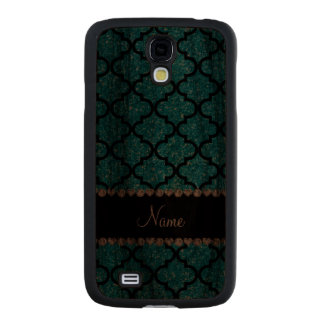 Custom name sky blue glitter moroccan carved® walnut galaxy s4 case
