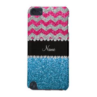 Custom name sky blue glitter pink glitter chevrons iPod touch 5G case