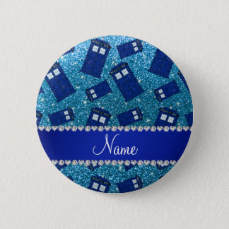 Custom name sky blue glitter police box 6 cm round badge
