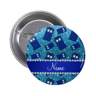 Custom name sky blue glitter police box 6 cm round badge