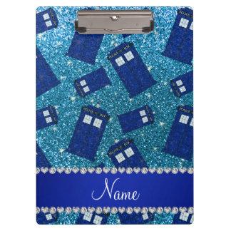 Custom name sky blue glitter police box clipboard