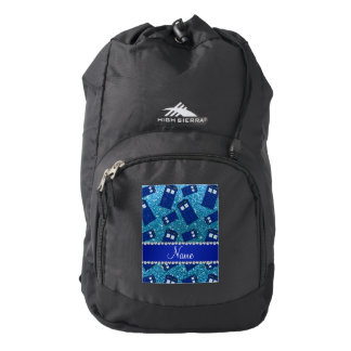 Custom name sky blue glitter police box backpack
