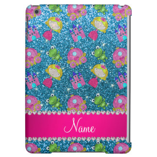 Custom name sky blue glitter princess frogs iPad air cases