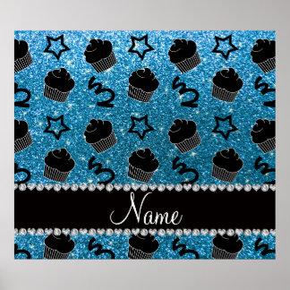 Custom name sky blue glitter stars cupcakes poster
