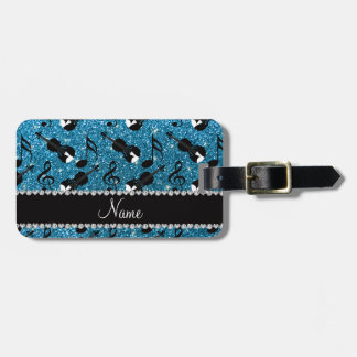 Custom name sky blue glitter violins music notes luggage tag