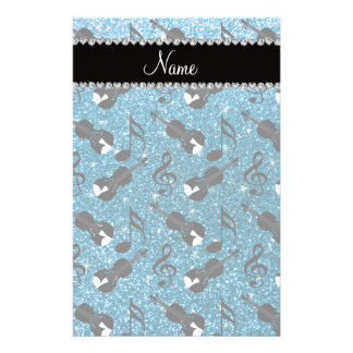 Custom name sky blue glitter violins music notes personalized stationery