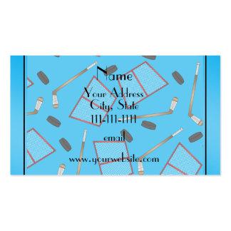 Custom name sky blue hockey sticks pucks nets pack of standard business cards