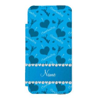 Custom name sky blue i love cheerleading hearts incipio watson™ iPhone 5 wallet case