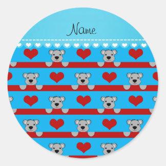 Custom name sky blue koalas red hearts stripes round sticker