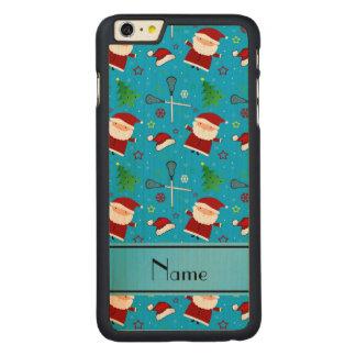 Custom name sky blue lacrosse christmas pattern iPhone 6 plus case