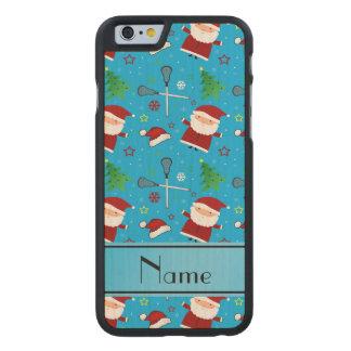 Custom name sky blue lacrosse christmas pattern carved® maple iPhone 6 slim case
