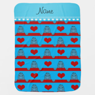 Custom name sky blue manatees red hearts stripes baby blanket