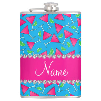 Custom name sky blue pink cosmos limes flasks