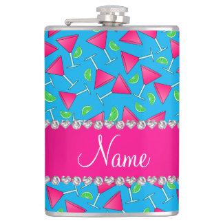 Custom name sky blue pink cosmos limes hip flask