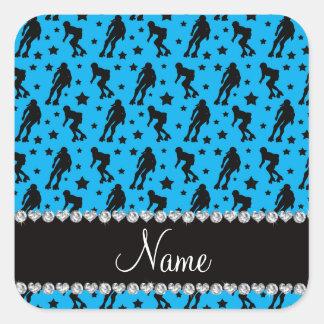 Custom name sky blue roller derby stars square sticker