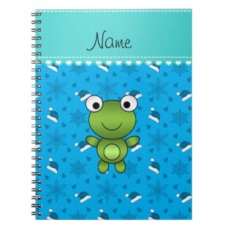 Custom name sky blue santa hat snowflakes frog spiral notebook