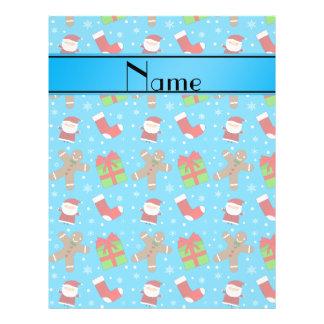 Custom name sky blue santas gingerbread 21.5 cm x 28 cm flyer