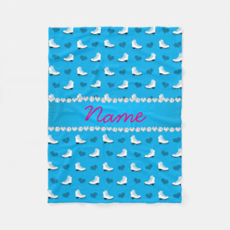 Custom name sky blue skates and hearts blue stripe fleece blanket