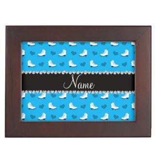 Custom name sky blue skates and hearts keepsake boxes