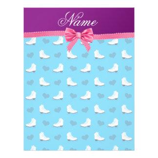 Custom name sky blue skates hearts pink bow 21.5 cm x 28 cm flyer