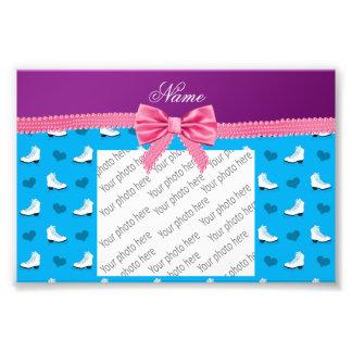 Custom name sky blue skates hearts pink bow photo art
