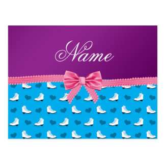 Custom name sky blue skates hearts pink bow post cards