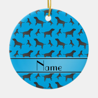 Custom name sky blue Staffordshire Terrier dogs Round Ceramic Decoration