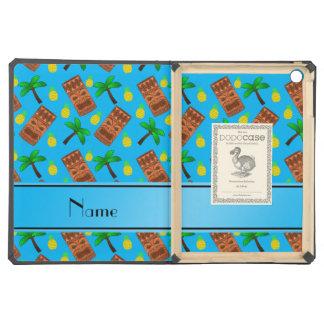 Custom name sky blue tiki pineapples palm trees cover for iPad air