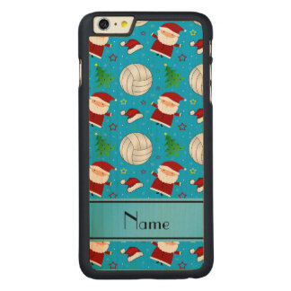 Custom name sky blue volleyball christmas pattern iPhone 6 plus case