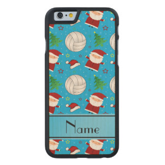 Custom name sky blue volleyball christmas pattern carved® maple iPhone 6 case