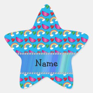 Custom name sky blue watermelons rainbows hearts star sticker
