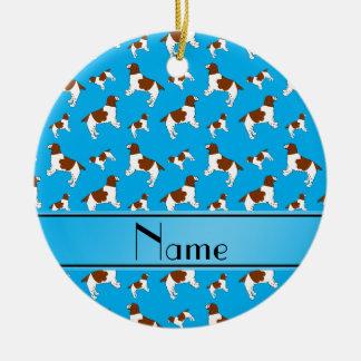 Custom name sky blue Welsh Springer Spaniel dogs Round Ceramic Decoration