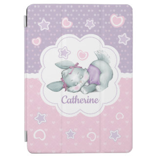Custom name Sleeping Bunny in pink and purple iPad Air Cover