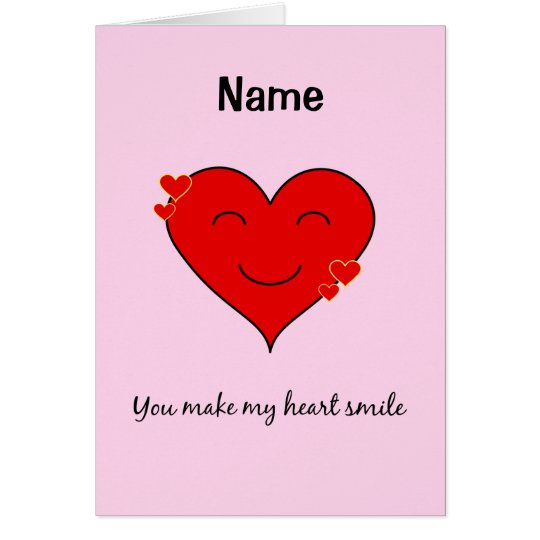 Custom name smiling heart pink card