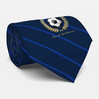 Custom Name Soccer Ball Navy Striped Tie
