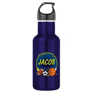 Custom Name Sporty Boys 532 Ml Water Bottle