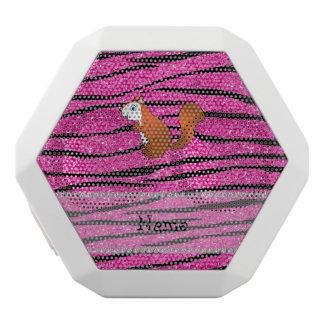 Custom name squirrel pink glitter zebra stripes white boombot rex bluetooth speaker