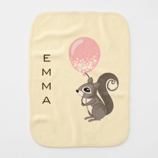 Custom Name Squirrel with Pink Balloon Burp Cloth