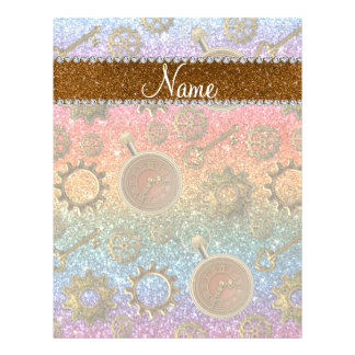 Custom name steampunk bright rainbow glitter 21.5 cm x 28 cm flyer