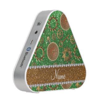 Custom name steampunk green glitter speaker