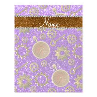 Custom name steampunk indigo purple glitter 21.5 cm x 28 cm flyer