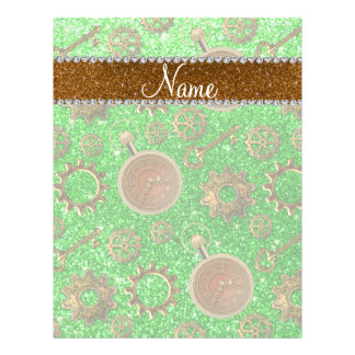 Custom name steampunk lime green glitter 21.5 cm x 28 cm flyer