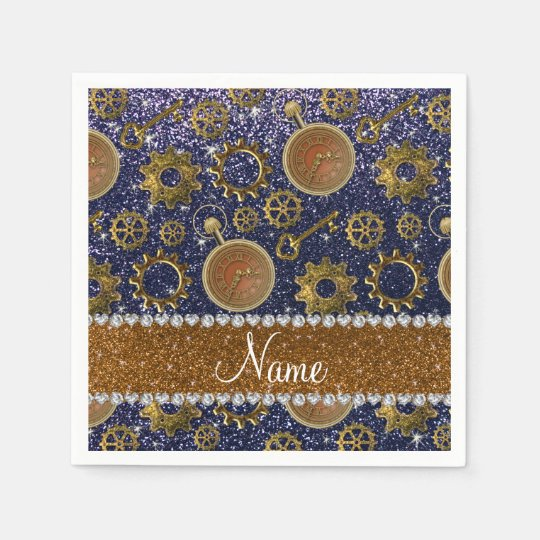 Custom name steampunk navy blue glitter disposable napkins