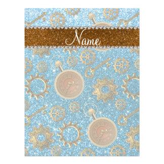 Custom name steampunk sky blue glitter 21.5 cm x 28 cm flyer