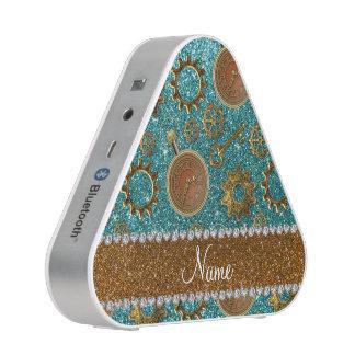 Custom name steampunk turquoise glitter bluetooth speaker