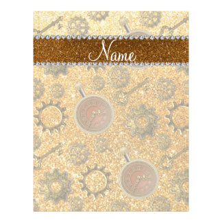 Custom name steampunk yellow glitter 21.5 cm x 28 cm flyer