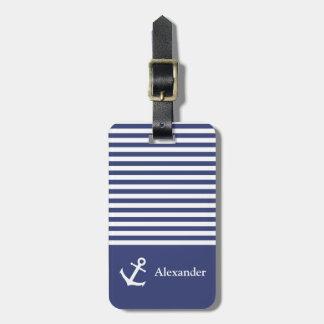 Custom Name Striped Nautica Luggage Tag