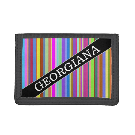 Custom Name + Stripes of Various Colours Wallet