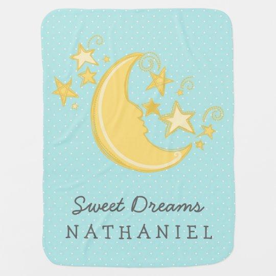 Custom Name Sweet Dreams Baby Blanket / Aqua